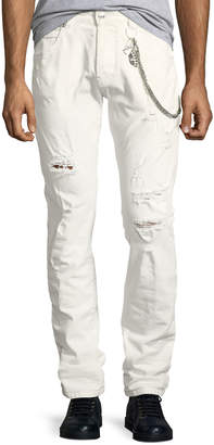 Pierre Balmain Super-Distressed Slim Jeans with Chain Detail