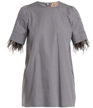 No.21 NO. 21 Feather-cuff cotton-gingham top