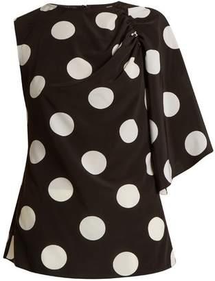 Anna October - Asymmetric Polka Dot Print Crepe De Chine Top - Womens - Black White