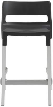 Euro Style Divo Counter Stool, Anthracite/Aluminum