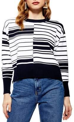 Topshop Spliced Ottoman Striped Sweater