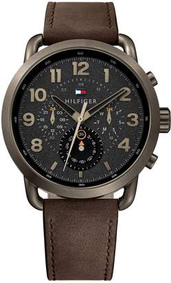 Tommy Hilfiger Brass-Tone Sport Watch With Brown Leather Strap