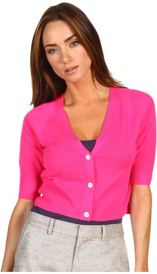 Juicy Couture Shrunken Cropped Lightweight Cashmere Cardigan (Ultra Fuchsia) - Apparel