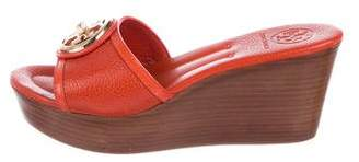 Tory Burch Leather Logo Wedges