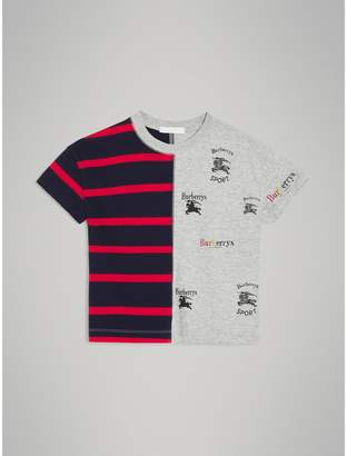 Burberry Archive Logo Print Striped Cotton T-shirt , Size: 12Y, Red