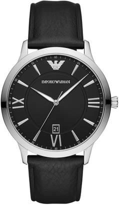 Emporio Armani Giovanni Black Leather Strap Watch