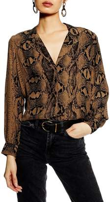 Topshop Jessica Snakeskin Print Blouse