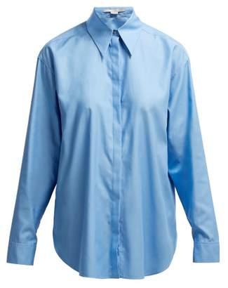 Stella McCartney Exaggerated Collar Cotton Shirt - Womens - Light Blue