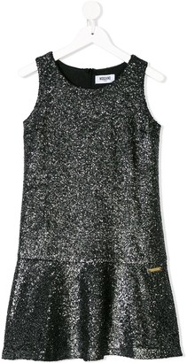 Moschino Kids bouclé knit metallic shift dress