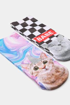 Ardene Cat Print Ankle Socks