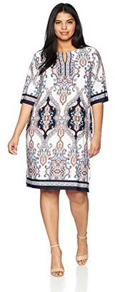 Sandra Darren Women's 1 PC Plus Size Printed ITY Sheath Dress