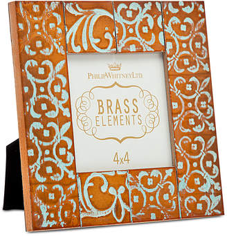 """Godinger Philip Whitney 4"""" x 4"""" Embossed Washed Copper Square Picture Frame"""