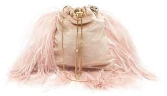 Rosantica By Michela Panero - Mademoiselle Feathered Velvet Cross Body Bag - Womens - Dusty Pink