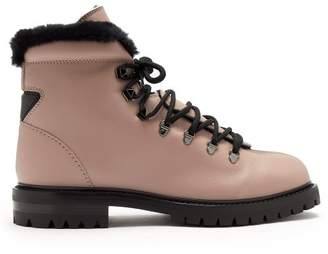 Valentino Rockstud Leather Hiking Boots - Womens - Black Nude