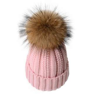 0a03b4f2b39 Vpang Winter Knitted Beanie Hat Soft Warm Wool Hat with Removable Faux Fur  Pom Pom