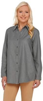 Joan Rivers Classics Collection Joan Rivers Classic Denim Boyfriend Shirt with Pockets