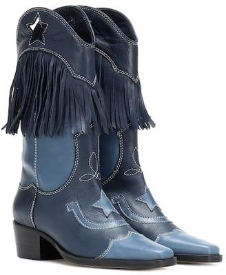 Ganni Texas Fringes leather cowboy boots