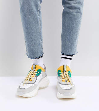Bronx Yellow & Green Suede Chunky Sneakers