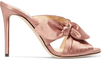 Jimmy Choo Keely Knotted Satin Mules - Antique rose