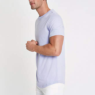 River Island Purple muscle fit longline curved hem T-shirt