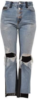 Amiri Leather And Denim Jeans