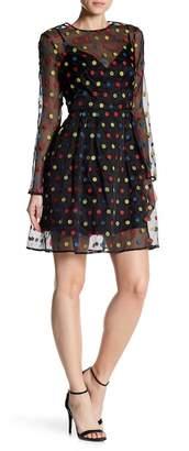 ML Monique Lhuillier Long Sleeve Polka Dot Mini Dress