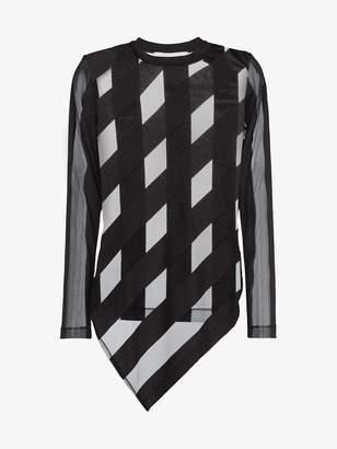 Marques Almeida Marques'almeida sheer stripe cotton blend asymmetric top