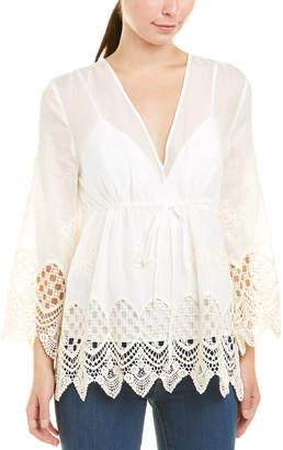 BCBGMAXAZRIA Embroidered Silk-Blend Top