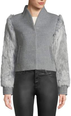 Sentaler Baby Alpaca Wool Bomber Jacket w/ Fur Sleeves