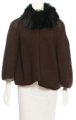 Prada Fur-Trimmed Wool Cardigan