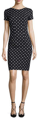 Carolina Herrera Short-Sleeve Polka-Dot Sheath Dress, Black/White