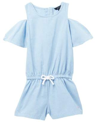 Nautica Cold Shoulder Chambray Romper (Toddler Girls)