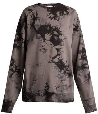 Helmut Lang Logo Print Tie Dyed Cotton Sweatshirt - Womens - Black
