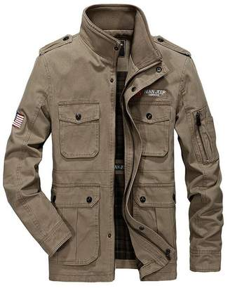 JEWOSOR Men's Spring Autumn Army Military Long Jacket Parka Trench Coat Outerwear