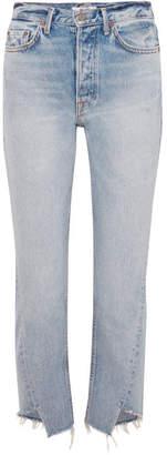 GRLFRND Carmen Frayed Mid-rise Straight-leg Jeans - Mid denim
