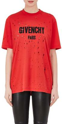 Givenchy Women's Destroyed Cotton T-Shirt $740 thestylecure.com