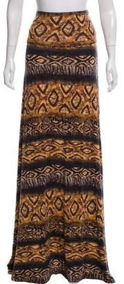 Torn By Ronny Kobo Animal Print Maxi Skirt