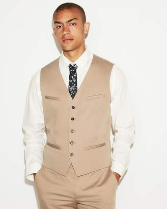 Express Khaki Cotton Sateen Suit Vest