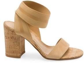 Gianvito Rossi Women's Cork Block Heel Sandals - Black - Size 34 (4)
