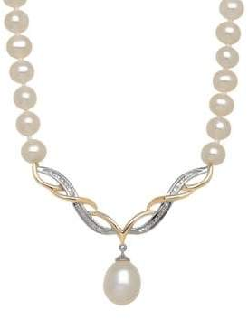 Lord & Taylor 8-10MM White Freshwater, Diamond and 14K Rose Gold Necklace