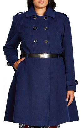 Plus Size Women's City Chic Double Agent Belted Coat $169 thestylecure.com