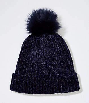 LOFT Chenille Faux Fur Pom Pom Hat