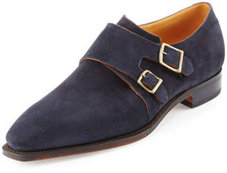 Arca Corthay Suede Double-Monk Shoe, Navy
