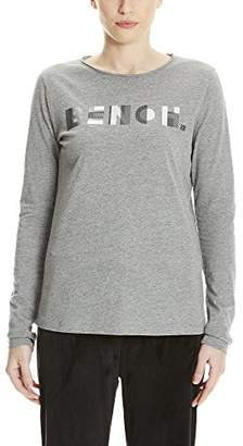Bench Women's Logo Longsleeve Long Sleeve Top, Winter Grey Marl Ma1054, X-Large
