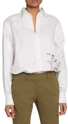 Victoria Beckham Handwriting-Embroidered Canvas Button-Front Shirt