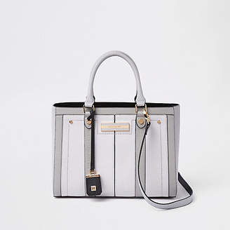 River Island Light grey faux leather boxy tote bag