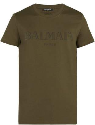 Balmain Logo Cotton T Shirt - Mens - Khaki