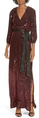 Alice + Olivia Bayley Sequin Maxi Shirtdress