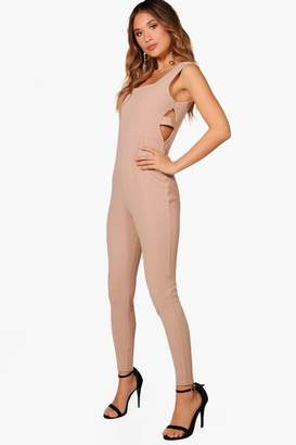 boohoo Square Neck Cut Side Skinny Leg Jumpsuit