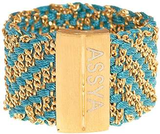 Assya Gold and Teal Silk Zig Zag Weaved Ring - O